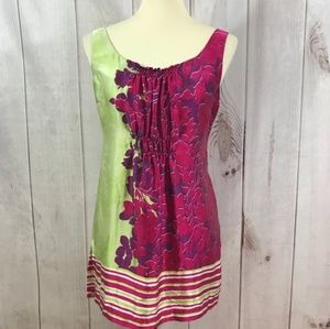 CAbi M Women's green pink silk Cosmo floral tunic